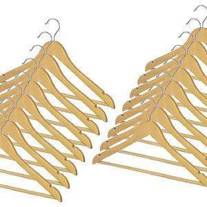 12 Pack Wooden Hangers | Natural